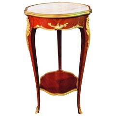 French Salon Side Table in Louis Quinze Style with Marble