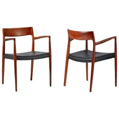Niels O. Moller Model 57 Rosewood Carver Chairs