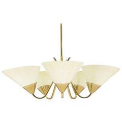 Midcentury Brass Five-Light Ceiling Lamp, 1950s