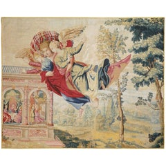 Mid-17th Century Antique Tapestry, Eros Bringing the Two Sisters of Psyché