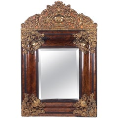 1850s French Baroque Revival Root Wood and Golden Brass Frame and Crest Mirror