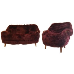 Sheepskin Newly Upholstered 1950s, Teak Sofa and Armchair for Bröderna Anderson