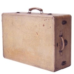 Midcentury Modern Beige Ostrich Type Leather Mexican Suitcase, Mexico, 1950