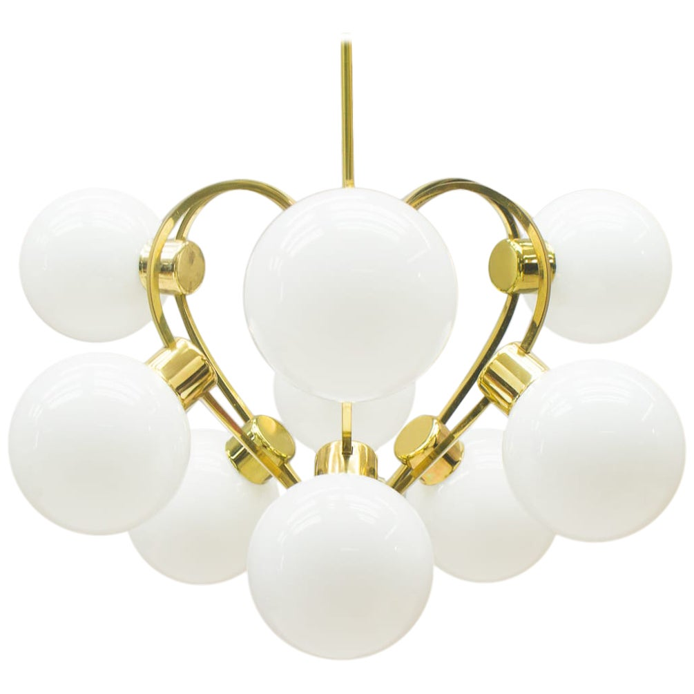 Elegant 1960s Brass Ceiling Lamp with 9 Opaline Glass Globes