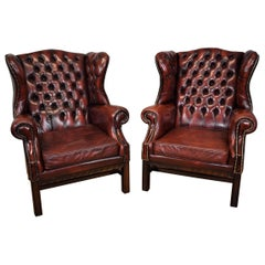 20th Century Pair of Large English Red Leather Wingback Armchairs