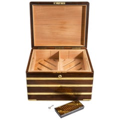 Large Brass Bound Mahogany Humidor by J Walker Anderson