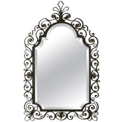 1950s French Design Wrought Iron And Beveled Mirror
