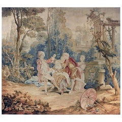 18th Century Antique Tapestry designed by François Boucher - Garden Games