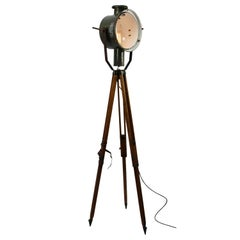 Gray Enamel Tripod Wooden Legs Vintage Industrial Spot Light