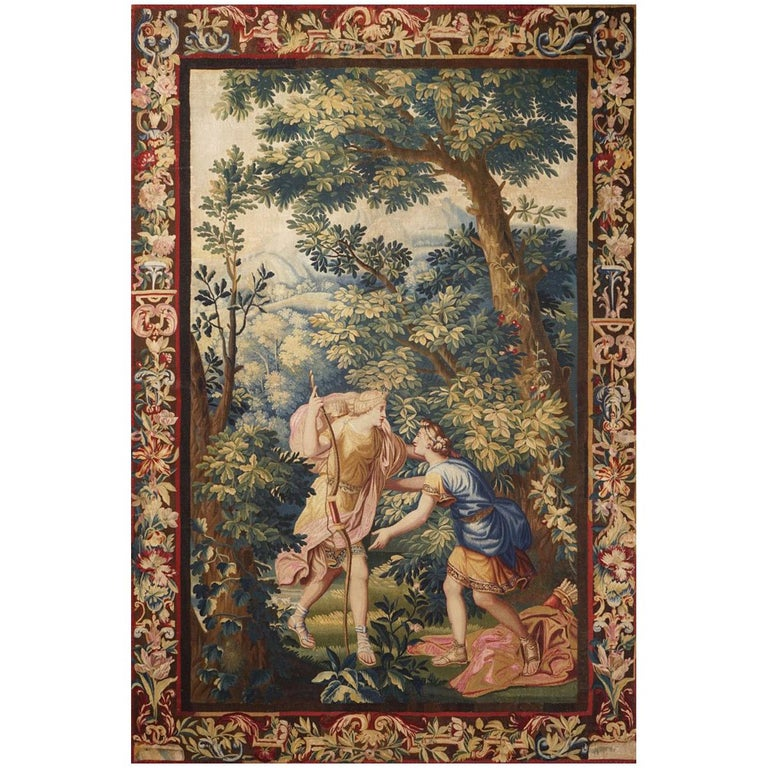 "18th Century antique tapestry from Brussels - ""Diana and Endymion"" For Sale"
