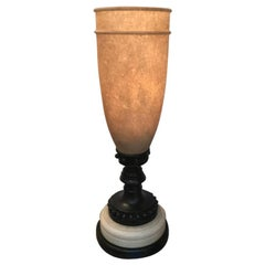 Tall Alabaster and Bronze Tourchere Table Lamp