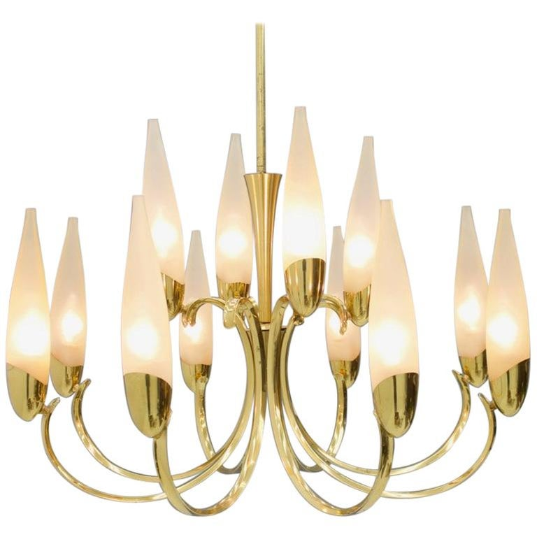 Large Glass and Brass Chandelier, 1950s For Sale
