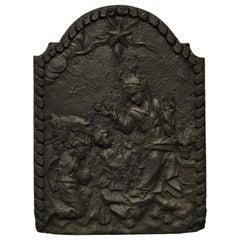 Antique Biblical Cast Iron Fireback