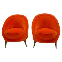Pair of Italian Orange Velvet Barrel Back Club Chairs in the Manner of Gio Ponti