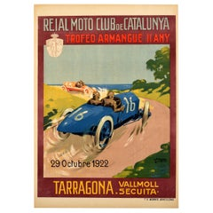 Original Vintage 1922 Motor Car Racing Poster Armangue Trophy Tarragona Spain