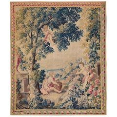 18th Century antique tapestry from Lille, France, flower garden
