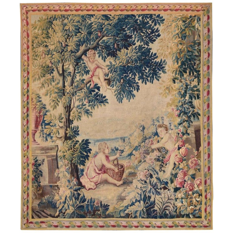 18th Century antique tapestry from Lille, France, flower garden For Sale