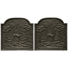 Pair of Cast Iron Firebacks Showing Deers in the Woods