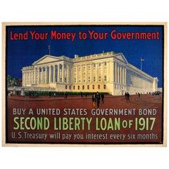 Original 1917 World War One Poster 2nd Liberty Loan US Treasury Government Bond