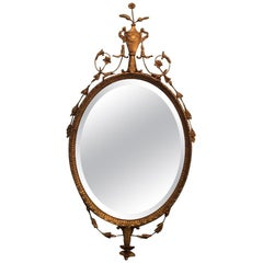 Graceful Elegant Oval Adam Style Giltwood Italian Mirror