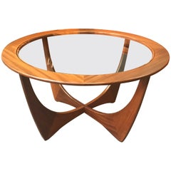 Circular Astro Midcentury Teak and Glass Coffee Table by VB Wilkins for G-Plan