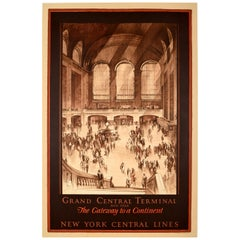 Original Vintage US Railway Poster Grand Central Terminal New York Central Lines