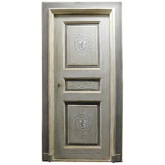 18th Century, N.4 Antiques Hand Painted Lacquered Doors, Gray, Decor with Frame