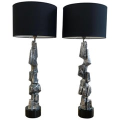 Pair of Large Brutalist Casted Aluminium Sculpture Table Lamps