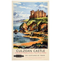 Original Vintage British Railways Poster Culzean Castle Scotland Eisenhower Home