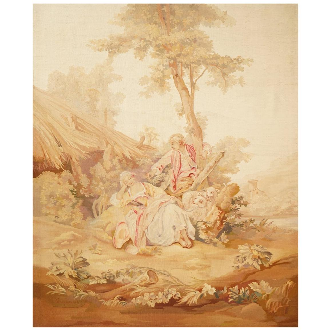 19th Century Antique Tapestry from Aubusson, a Romantic Scene