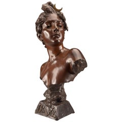 "Emmanuel Villanis, Bronze Buste ""Diane"""
