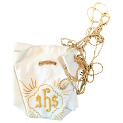 Belgian Embroidered Linen Burse or Pyx Bag Used to Carry The Communion Host