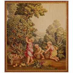 19th Century Antique Tapestry from Aubusson, Children in the Vineyard