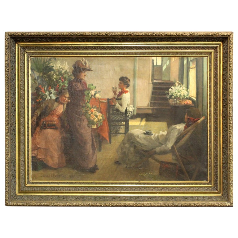 Ella M. Bedford 'Afternoon Tea' British Victorian Oil Painting For Sale