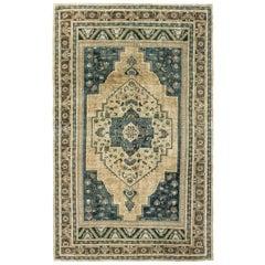 Ivory, Blue and Brown Handmade Wool Turkish Anatolian Konya Rug
