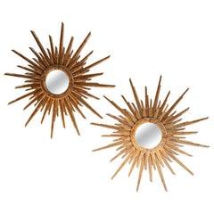 Pair of 20th Century Italian Sunburst Mirrors