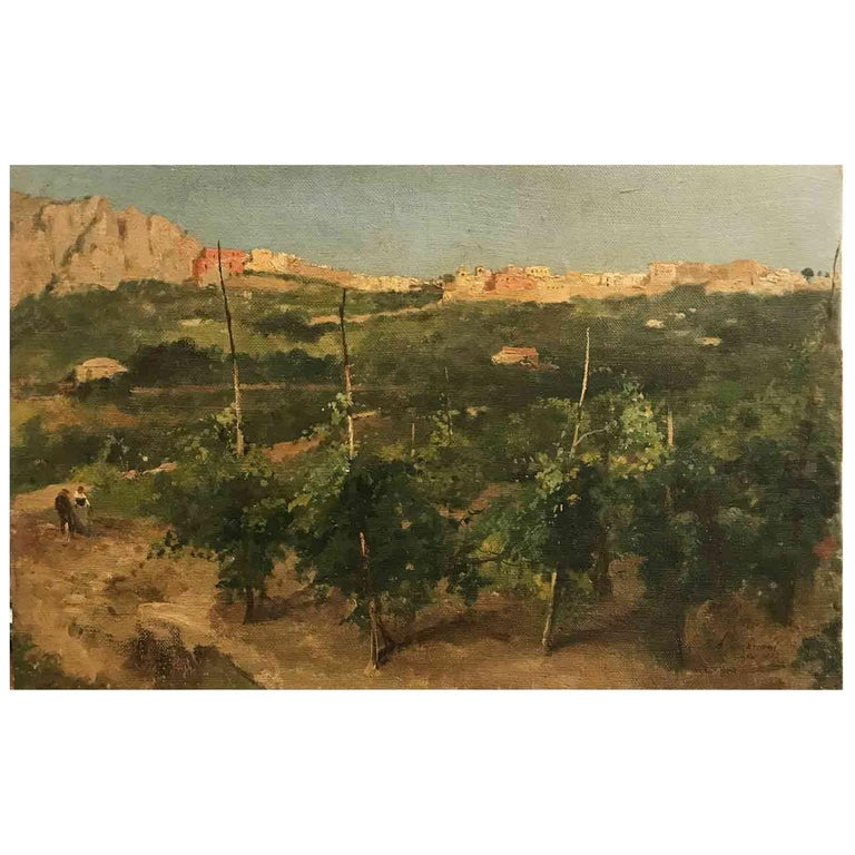 Capri Italy 19th Century Italian Countryside Landscape by Alceste Campriani For Sale