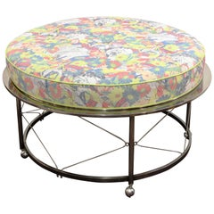 Midcentury Ottoman with Chrome Frame and Pop-Art Style Upholstery