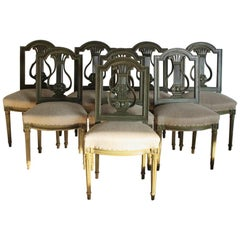 Set of Eight 1920s French Painted Dining Chairs