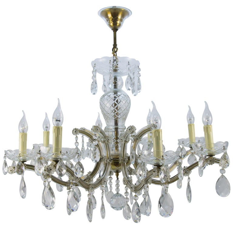 Maria Theresa Style Eight-Light Crystal Chandelier For Sale