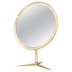 Vanity Round Brass Table Mirror by Vereinigte Werkstätten München, Germany 1950s