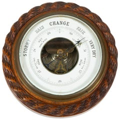 Barometer with Carved Rope Twist Oak Case
