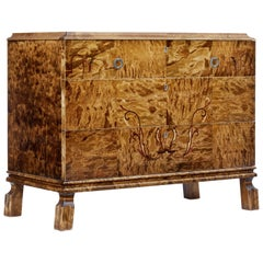Scandinavian Late Art Deco Birch Inlaid Chest of Drawers