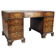 Maple & Co Burl Walnut Pedestal Desk
