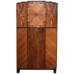 Art Deco Skyscraper Double Walnut Wardrobe, circa 1930