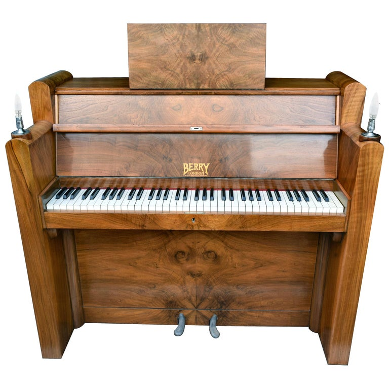 1930s Upright Art Deco Piano by Berry of London
