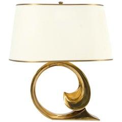 Pierre Cardin Brass Table Lamp with Custom Shade