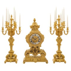 French Mid-19th Century Ormolu Three-Piece Garniture Clock Set, Signed BOYE