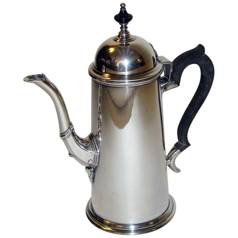 19th century Georgian Style Sterling Silver Coffee Server For Sale