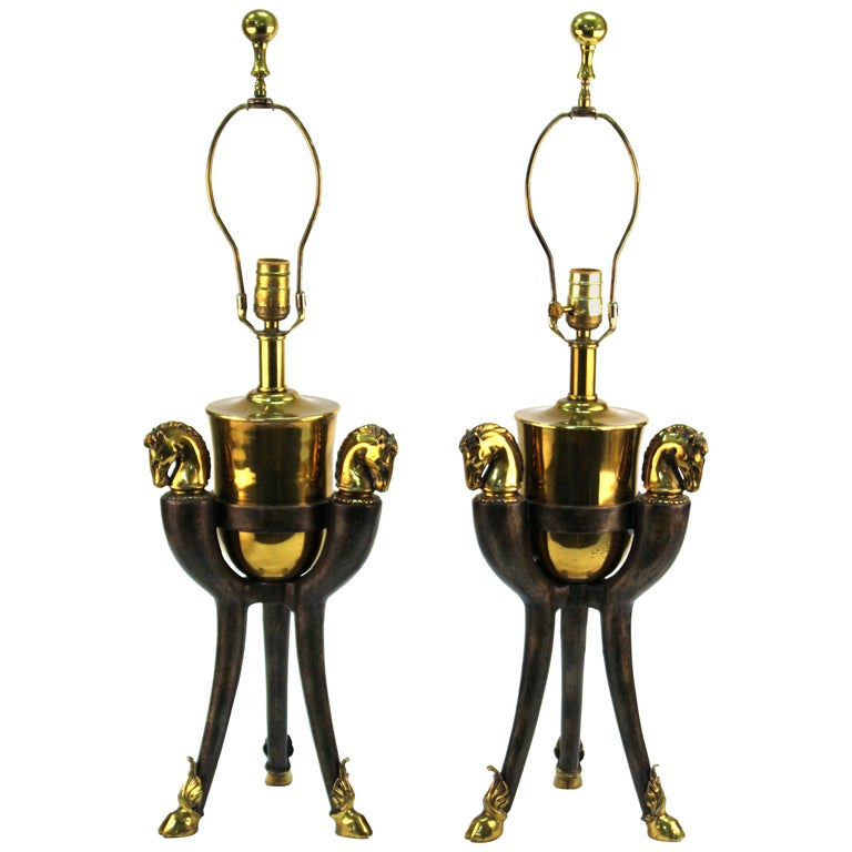 Modern Equestrian Themed Table Lamps with Horse Heads For Sale